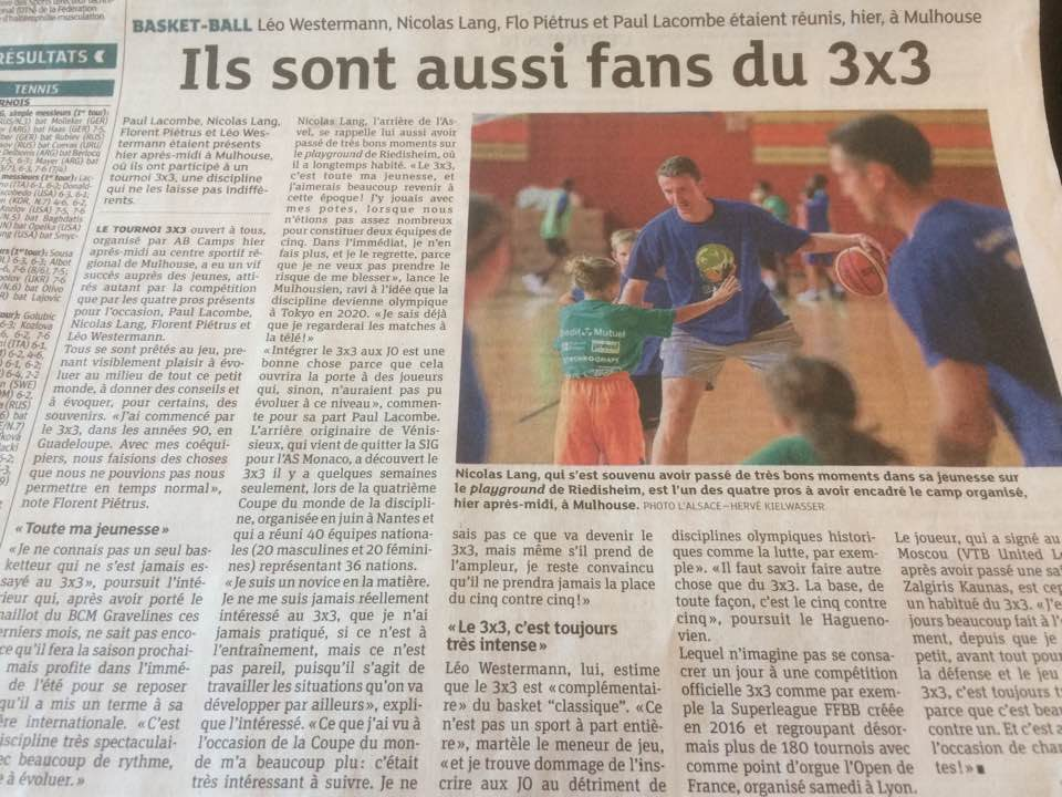 1 - Article journal l'Alsace 3c3 AB Camps