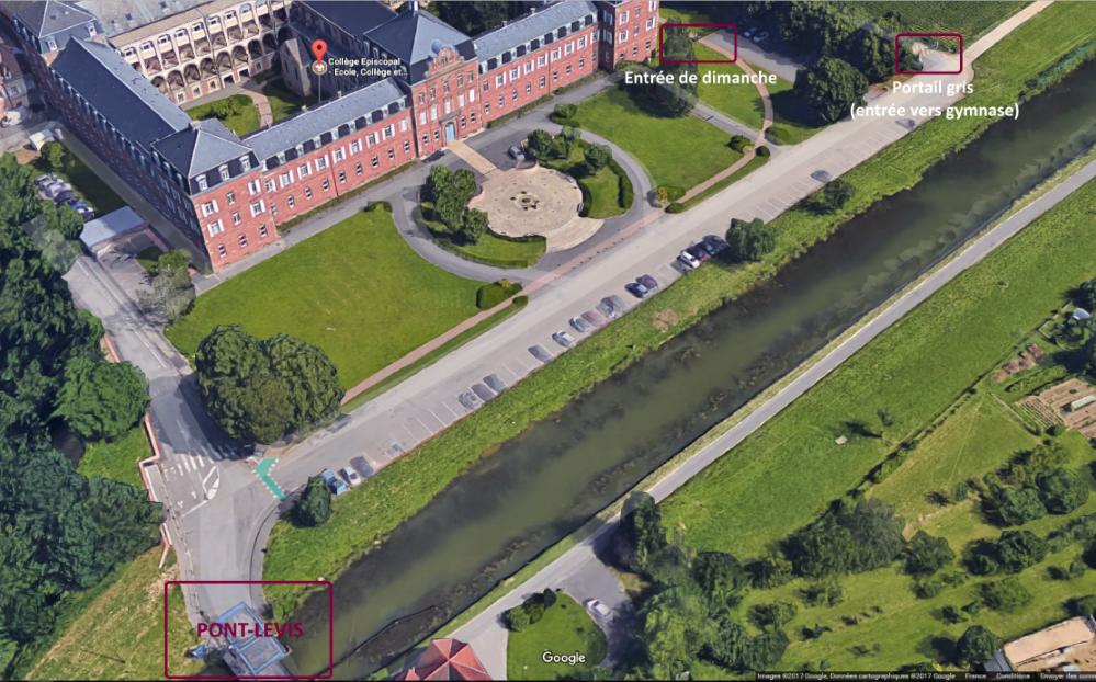 Image 3D College AB Camps portails et pont-levis_annoté